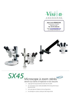 VE - SX45 - Microscope à zoom stéréo (inspection, retouche) grossissement de X4 à X200