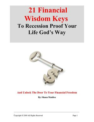 21 Financial Wisdom Keys