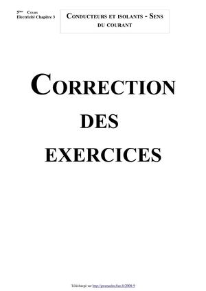 Conducteurs et isolants - Sens du courant (Correction des exercices - Version 2010)