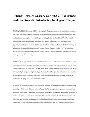 Flixoft Releases Grocery Gadget® 2.1 for iPhone™ and iPod touch®; Introducing Intelligent Coupons