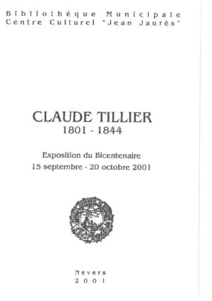 Claude Tillier (1801-1844), catalogue de la bibliothèque municipale de Nevers