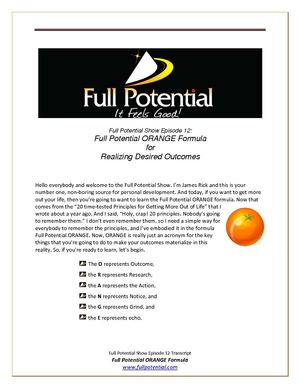 Full Potential Show Ep. 12 Full Potential ORANGE Formula