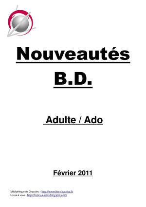 catalogue BD adulte février 2011