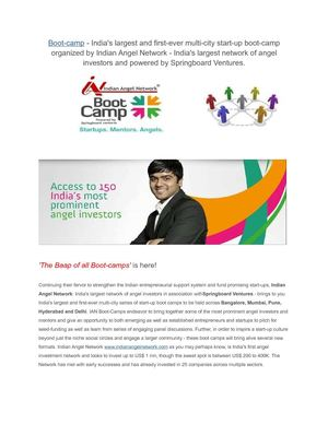 India's largest and first ever multi city start up boot camp