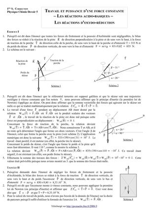 Calaméo - DS 5 - Première S - Travail et puissance d'une force constante - Les réactions acido ...