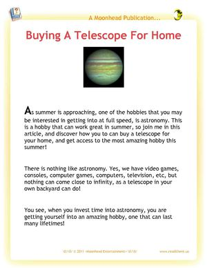 Buying A Telescope For Home