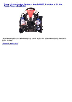 Trurev Inline Skate Gear Backpack- Awarded 2009 Great Gear of the Year Award- Amazon Best Seller