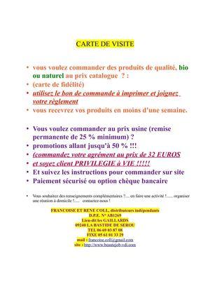 CARTE DE VISITE RENSEIGNEMENTS