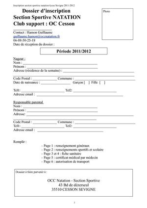Dossier inscription section sportive lycee 2011-2012