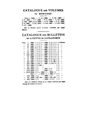Table de la Revue de l'Avranchin, 1842-1923