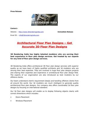 Architectural Floor Plan Designs – Get Accurate 3D Floor Plan Designs