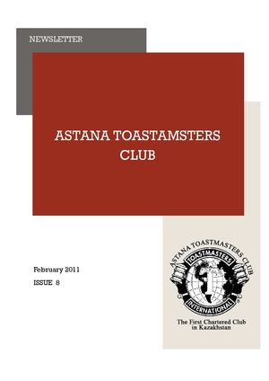 February 2011, Astana Toastmasters Club Newsletter