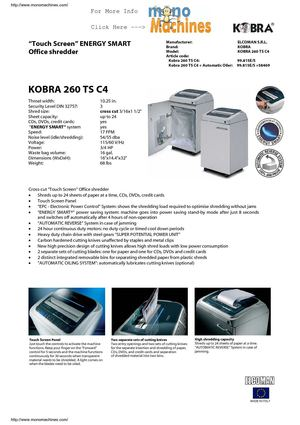 Kobra 260 TS C4 Cross-Cut Shredder Spec Sheet