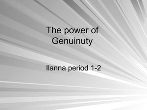 the power of genuinuty