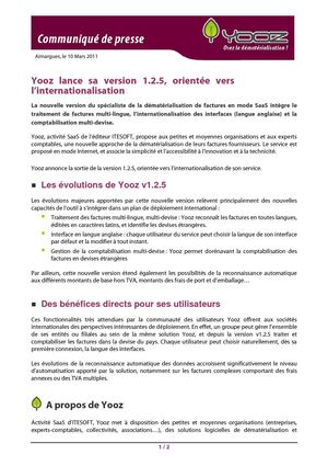 Yooz lance sa version 1.2.5 orientée vers l'internationalisation