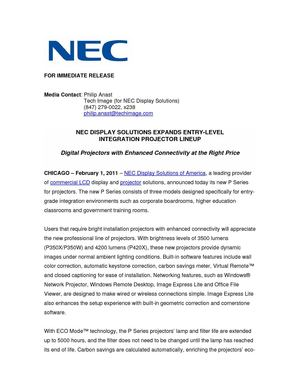 NEC DISPLAY SOLUTIONS EXPANDS ENTRY-LEVEL  INTEGRATION PROJECTOR LINEUP
