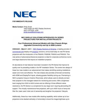 NEC DISPLAY SOLUTIONS INTRODUCES PA SERIES  PROJECTORS FOR INSTALLATION PROJECTS