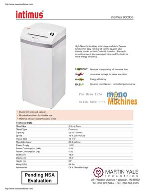 Intimus 90cc6 Pro High Security Shredder Spec Sheet
