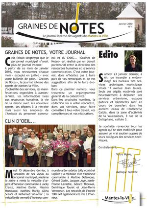 Graines de notes - Journal interne des agents de Mantes-la-Ville n°1