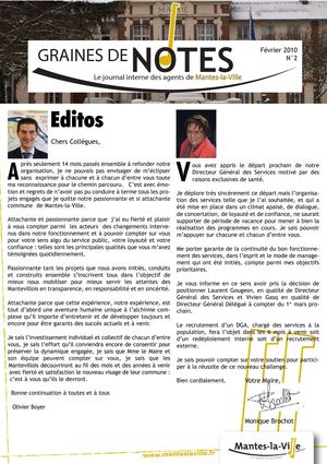 Graines de notes - Journal interne des agents de Mantes-la-Ville n°2