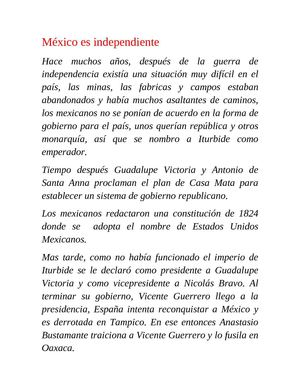 cuento de mexico independiente