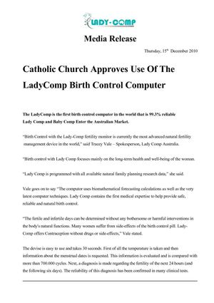 Catholic Church Approves Use Of The LadyComp Birth Control Computer