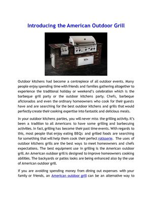 Introducing the American Outdoor Grill