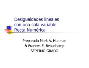 Desigualdades lineales una sola variable recta numérica