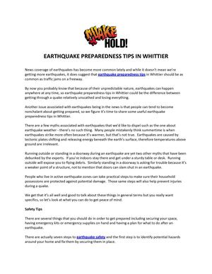 EARTHQUAKE PREPAREDNESS TIPS IN WHITTIER