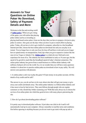 Answers to Your Questions on Online Poker No Download, Safety of Payment Details and More