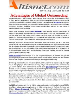 Advantages of Global Outsourcing