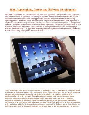 iPad Applications, Games and Software Development