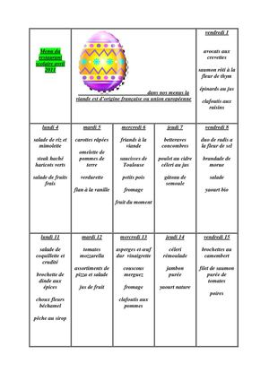 Menu du mois d'avril 2011