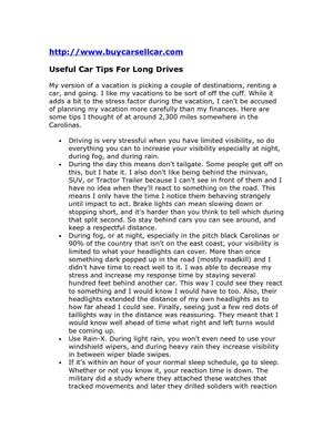 Useful Car Tips For Long Drives