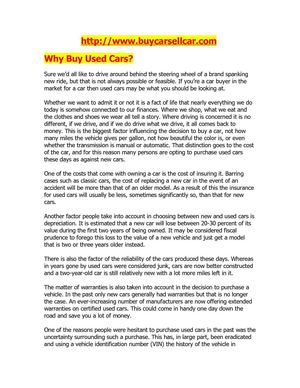 Why Buy Used Cars?