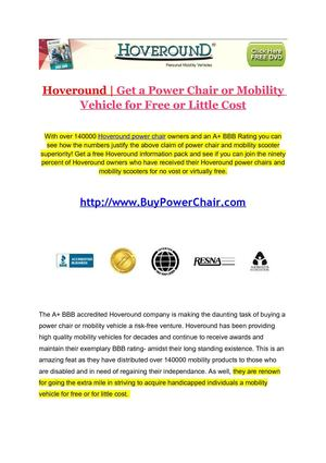 With Its many Awards and Exemplary BBB Rating Hoveround is Proving to be the Best Power Chair Provider