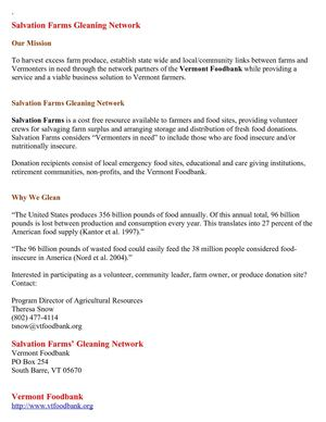 Salvation Farms Gleaning Network
