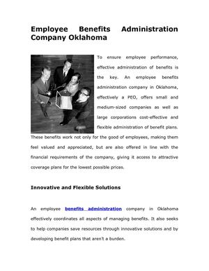 Employee Benefits Administration Company Oklahoma