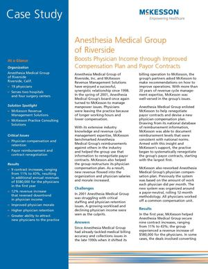Anesthesia Medical Group of Riverside Boosts Physician Income Through Improved Compensation Plan and Payor Contracts