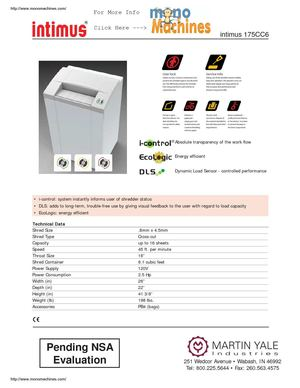 Intimus 175cc6 Pro High Security Shredder Spec Sheet