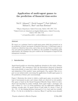 Application Of Multi-Agent Games To The Prediction Of Financial Time-Series