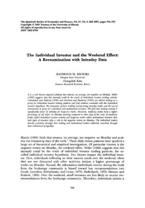 Brooks And Kim-The Individual Investor And The Weekend Effect - A Reexamination With Intraday Data