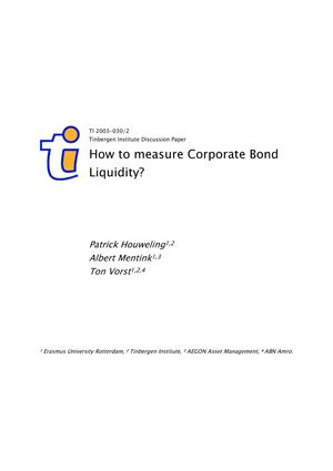 Houweling, Mentink And Vorst-How To Measure Corporate Bond Liquidity