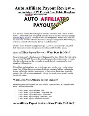 Auto Affiliate Payout Review – An Anticipated IM Product from Kelvin Houghton