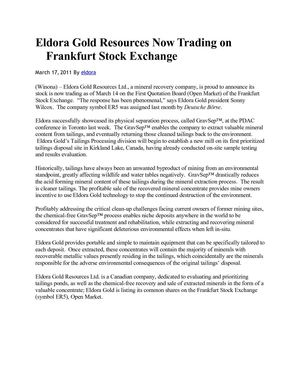 Eldora Gold Resources Now Trading on Frankfurt Stock Exchange
