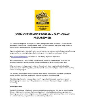 SEISMIC FASTENING PROGRAM - EARTHQUAKE PREPAREDNESS