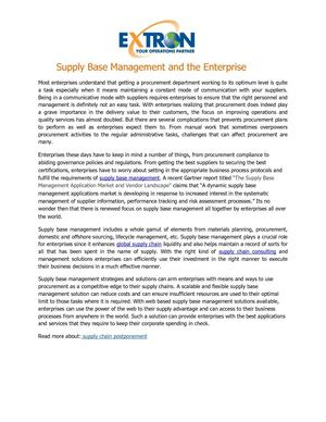 Supply Base Management and the Enterprise