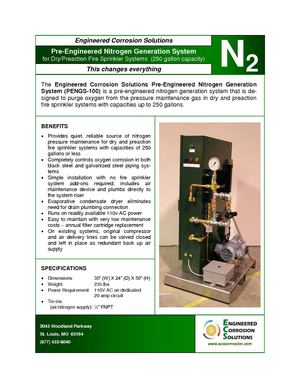 PENGS-100: Engineered Corrosion Solutions Pre-Engineered Nitrogen Generator for Dry and Preaction Fire Sprinkler Systems
