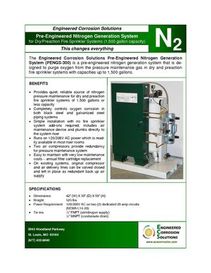 PENGS-300:  Engineered Corrosion Solutions Pre-Engineered Nitrogen Generator for Dry and Preaction Fire Sprinkler Systems