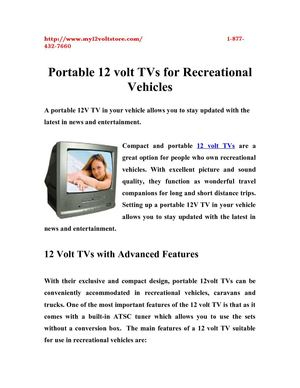 Portable 12 volt TVs for Recreational Vehicles
